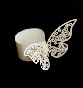 WhiteCat Laser-cut Butterfly Serviette Rings