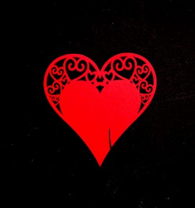 WhiteCat Laser-Cut Red Heart Embellishment