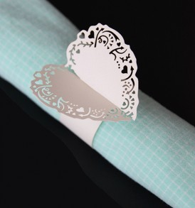 WhiteCat Laser-cut Heart Serviette Rings