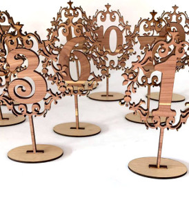 Set of 12 Laser Cut Wood Table Numbers