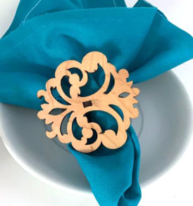 Set of 4 Laser Cut Wood Napkin Rings